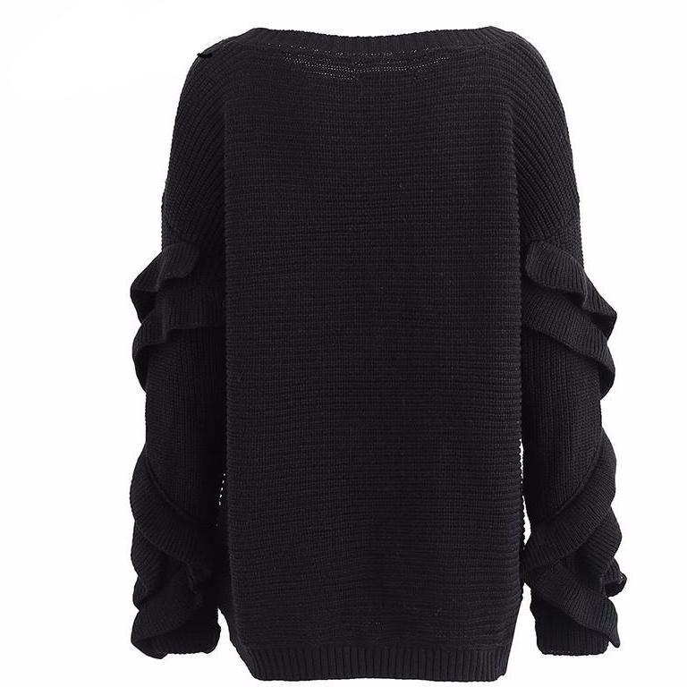 Black Emily off shoulder slouch sweater with ruffle sleeves