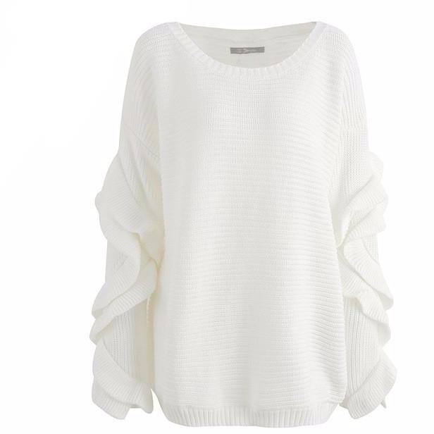 White Emily off shoulder slouch sweater with ruffle sleeves
