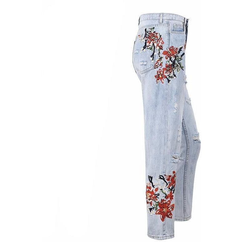 Shiloh Embroidered Jeans, Pants - Bijou Blossoms
