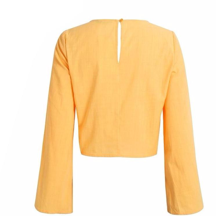 Carolina Long Bell Sleeve Yellow Blouse - Bijou Blossoms