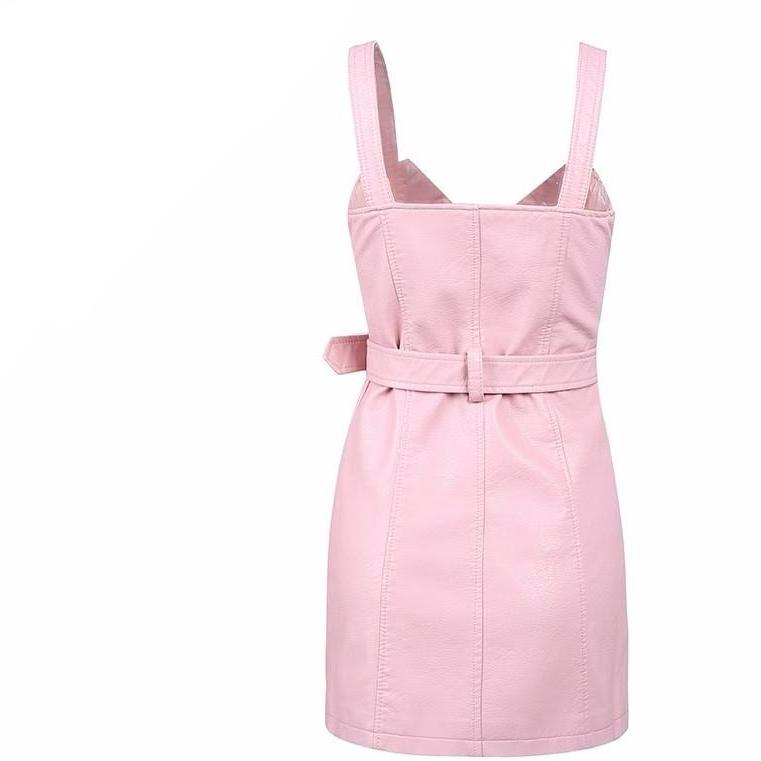 Charleigh Sleeveless Pink Faux Leather Mini Dress - Bijou Blossoms