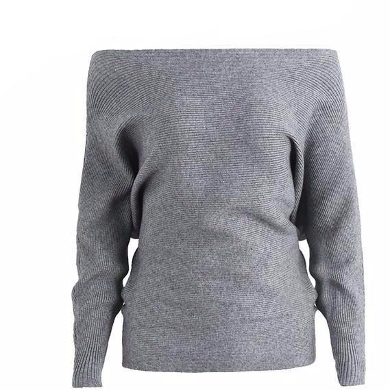 Emma Gray Knit Long Sleeve Pullover Sweater - Bijou Blossoms