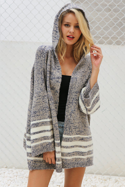 Marta White Striped Hooded Gray Knit Cardigan | Bijou Blossoms | Boho Boutique