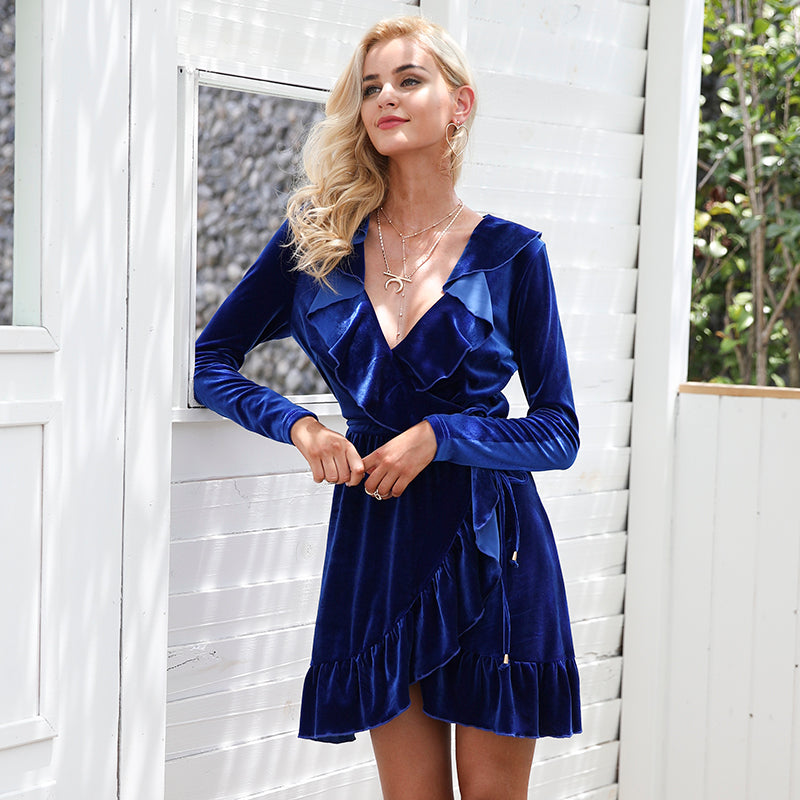 Royal Blue Orla Velvet Dress at Bijou Blossoms Boutique