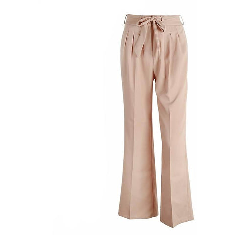The Lucille Casual Trousers are a khaki, pleated, wide leg trouser with front zipper closure and tie sash.