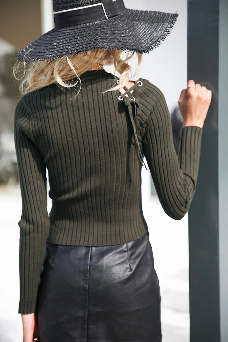 Eloise Lace-Up Olive Green Long Sleeve Sweater | BijouBlossoms | Bohemian Boutique