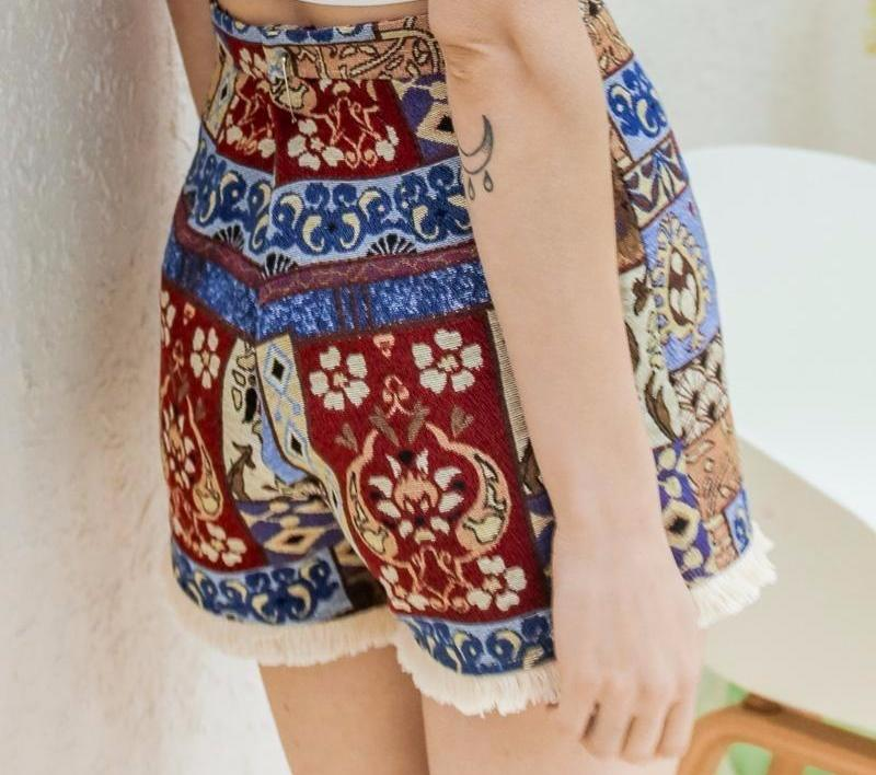 Collette Pattern Shorts, Shorts - Bijou Blossoms