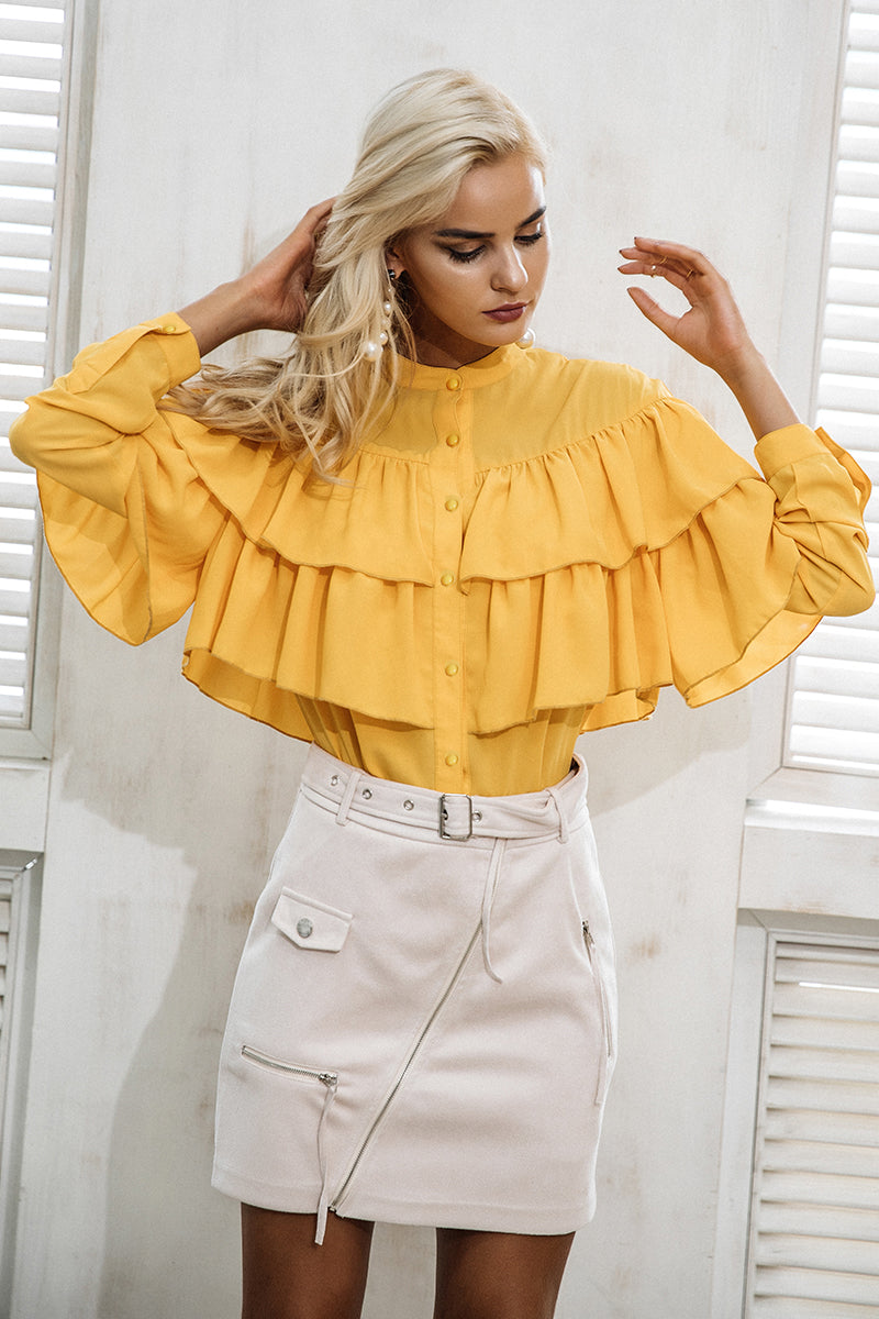 Zea Ruffled Tiered Long Sleeve Blouse | Bijou Blossoms | Boho Boutique