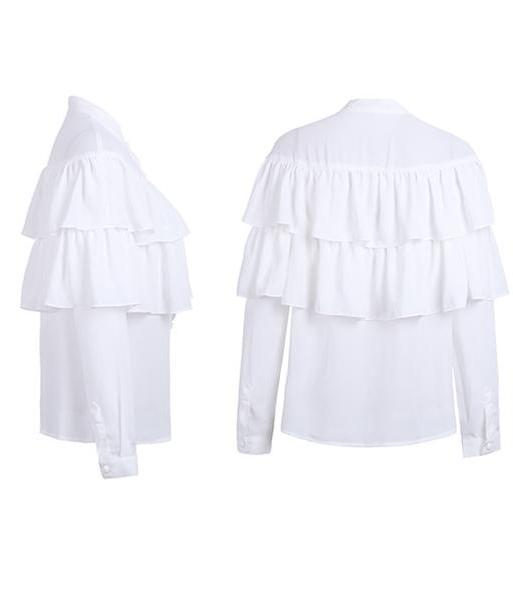 Zea White Ruffled Tiered Long Sleeve Blouse | Bijou Blossoms | Boho Boutique