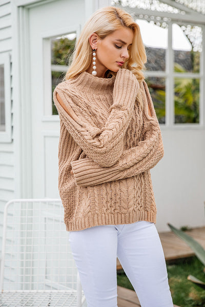 Nakome Cold-Shoulder Chunky Beige Sweater | Bijou Blossoms | Boho Boutique