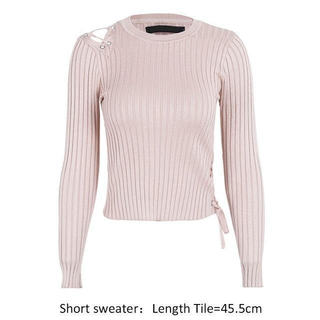Eloise Lace-Up Sweater, Sweater - Bijou Blossoms