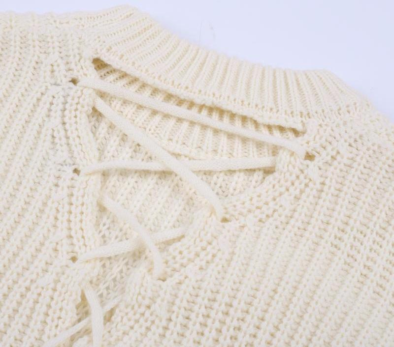 Orlina Lace-Up Sweater, Sweater - Bijou Blossoms