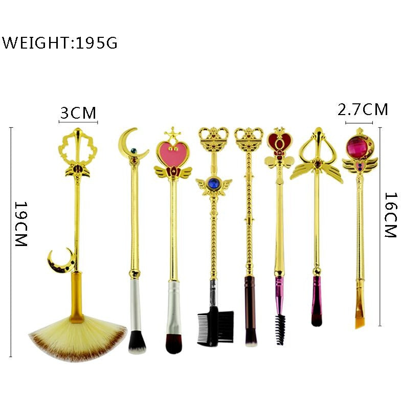 Kawaii fashion Sailor Moon Makeup Brush Set resembling Sailor Moon & Princess Serenity's arsenal of magical girl scepters, wands, and rods, perfect for any fan!