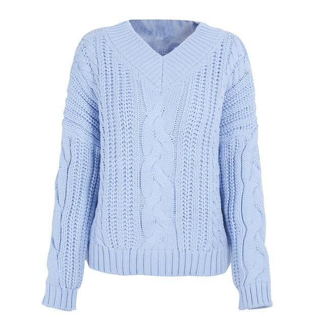 Pierretta Pastel Blue Pullover Knit Chunky Sweater | Bijou Blossoms | Cute Fashion