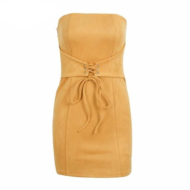 Annona Faux Suede Mini, Dress - Bijou Blossoms