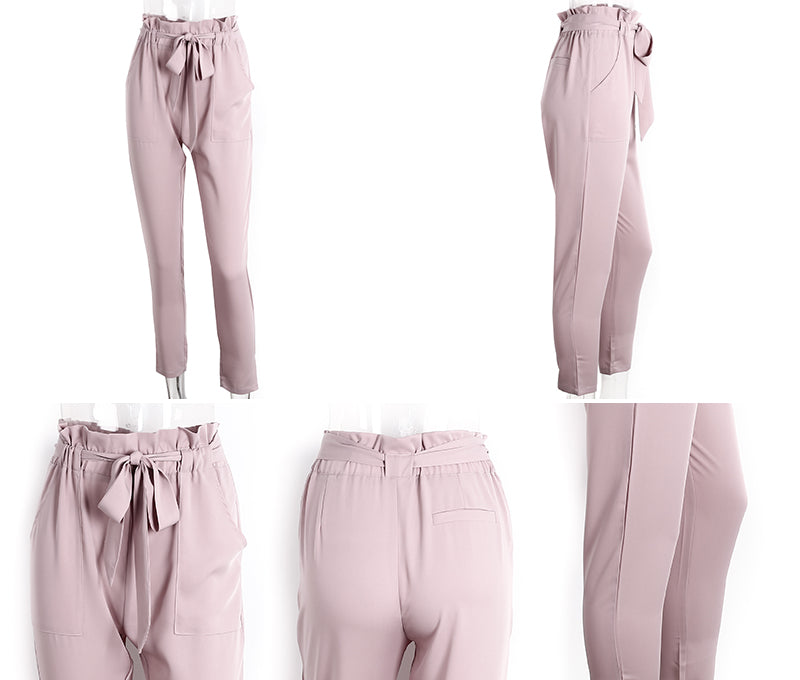 Denise Pink Ruffled Elastic Hem Trouser Pants | Bohemian Fashion Clothing Boutique | Bijou Blossoms
