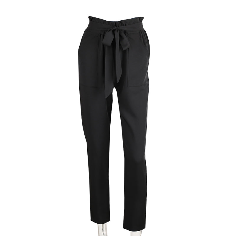 Denise Black Ruffled Elastic Hem Trouser Pants | Bohemian Fashion Clothing Boutique | Bijou Blossoms