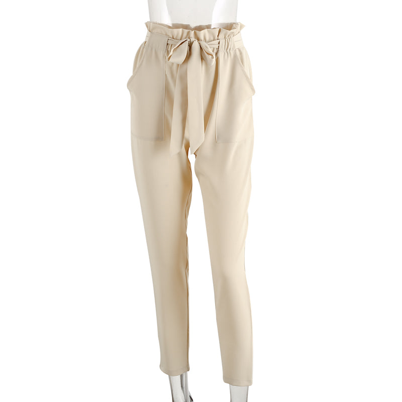 Denise Cream Ruffled Elastic Hem Trouser Pants | Bohemian Fashion Clothing Boutique | Bijou Blossoms