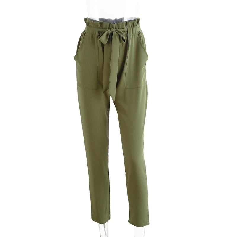 Denise Green Ruffled Elastic Hem Trouser Pants | Bohemian Fashion Clothing Boutique | Bijou Blossoms