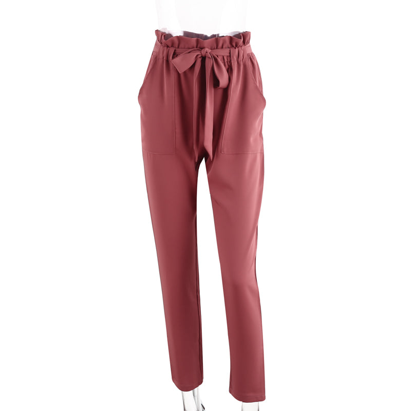 Denise Red Ruffled Elastic Hem Trouser Pants | Bohemian Fashion Clothing Boutique | Bijou Blossoms
