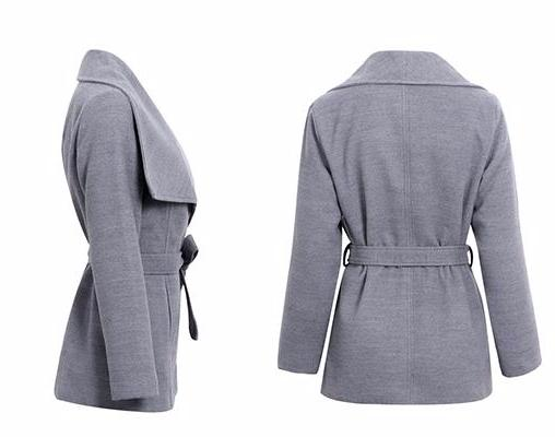 Nalani Gray Turn-Down Collar Wrap Jacket | Trendy Chic Fashion Clothing Boutique | Bijou Blossoms