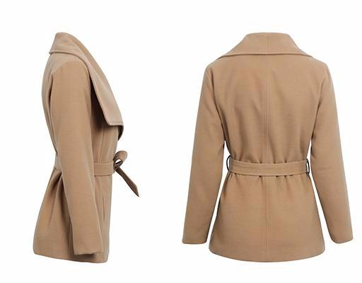 Nalani Tan Turn-Down Collar Wrap Jacket | Trendy Chic Fashion Clothing Boutique | Bijou Blossoms