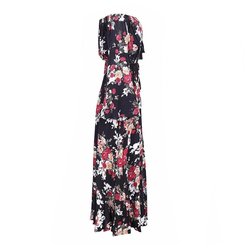 Carmine Print Gown, Dress - Bijou Blossoms