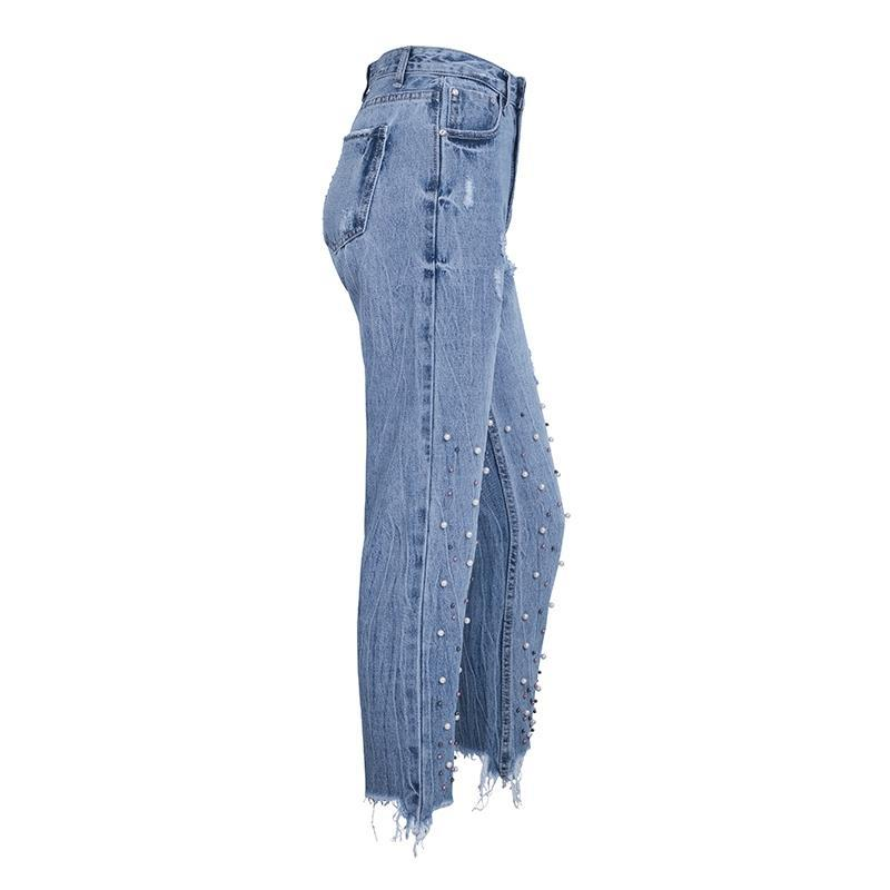 The Kari Pearl Beaded Jeans are a straight leg pant with a frayed, distressed hem and lovely faux pearls beaded on for a unique embellished design. | Cute Trendy Fashion Clothing | Bijou Blossoms