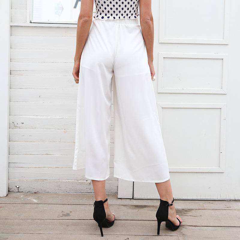 Phaedra Wide Leg Trouser Pants - White | Cute Bohemian Fashion Clothing - Bottoms | Bijou Blossoms