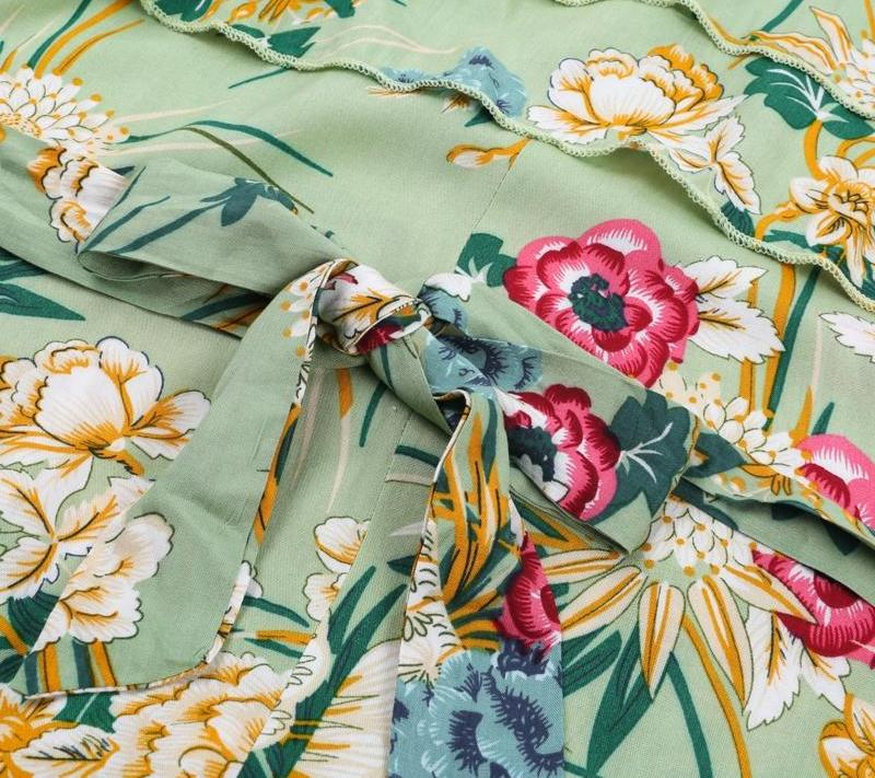 Jade Green Floral Ruffle Jumpsuit | Bohemian Fashion Clothing Boutique | Bijou Blossoms