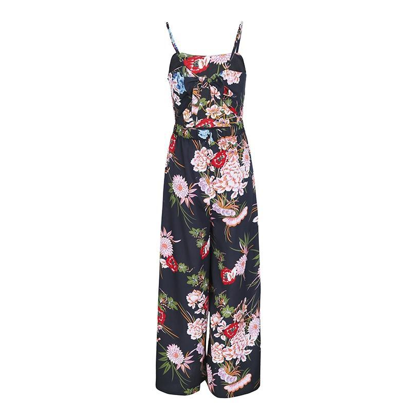 Katrina Floral Prince & Solid Color Wide Leg Jumpsuit | Bohemian Fashion Clothing | Bijou Blossoms