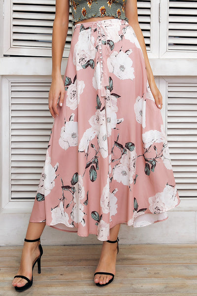 The Floral Nirvana Split Maxi Skirt is a cute floral print, full-length skirt with a  drawstring waist and split center. | Cute Bohemian Fashion Clothing - Bottoms | Bijou Blossoms