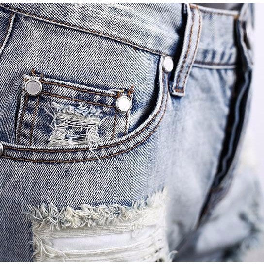 Apparel 50's Vintage ripped hole fringe blue denim shorts women Casual pocket jeans shorts 2016 summer girl hot shorts