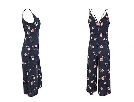 Navy Blue Free Love Floral Jumpsuit | Bohemian Fashion Clothing | Bijou Blossoms