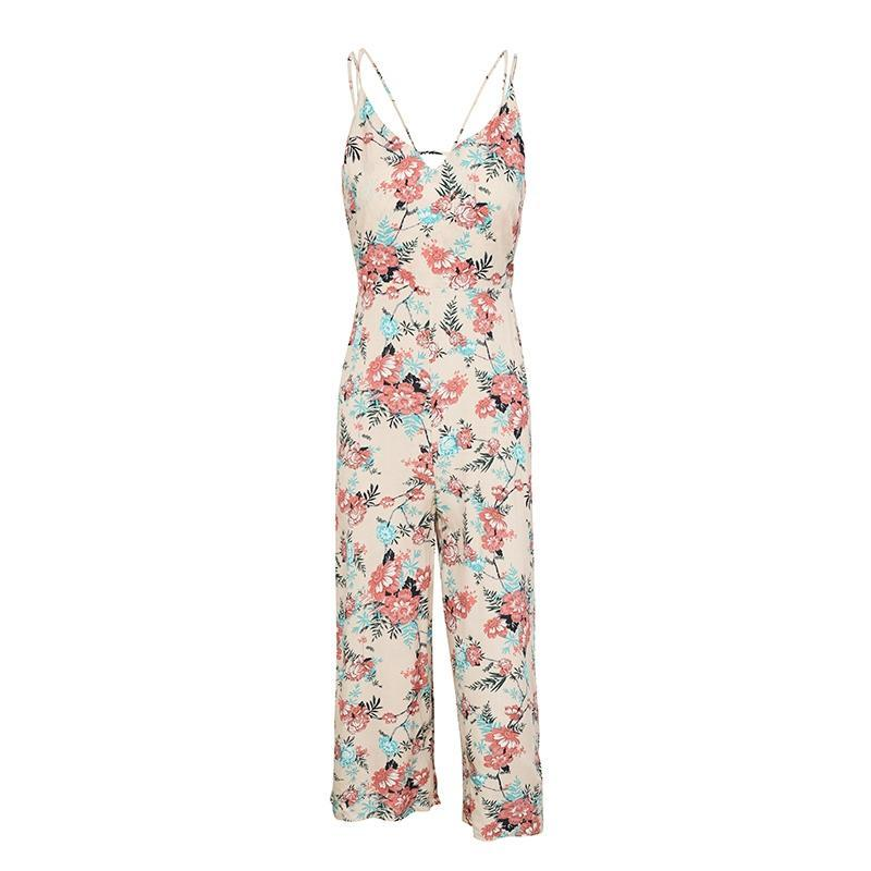 Cream Beige Free Love Floral Jumpsuit | Bohemian Fashion Clothing | Bijou Blossoms