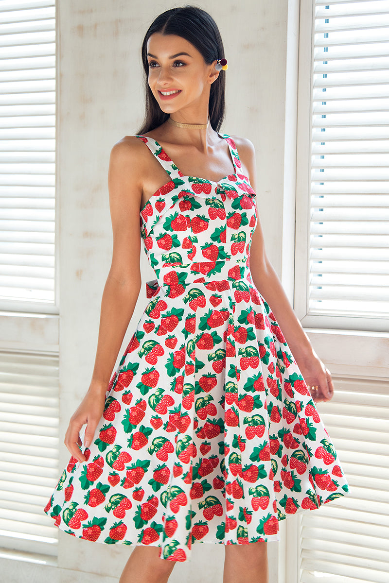 Strawberry Hill Print Dress | Cute Bohemian Fashion Clothing | Bijou Blossoms