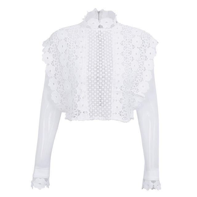 The Gabrielle Lace Blouse features a hollow out, sheer mesh design with floral details and long sleeves. Available in white and black, and four sizes.
