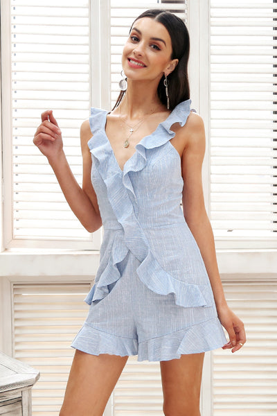 Sweet Jo Blue Ruffled Romper | Cute Bohemian Fashion Clothing | Bijou Blossoms