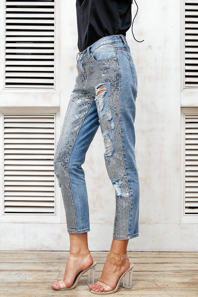 Shattered Love Sequin Straight Leg Jeans | Trendy Streetwear Fashion Clothing | Bijou Blossoms