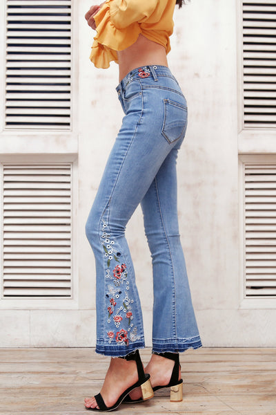 Floral Peace Embroidered Flare Jeans | Cute Bohemian Street Fashion Clothing | Bijou Blossoms