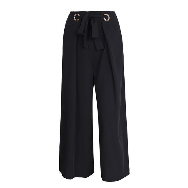Phaedra Wide Leg Trouser Pants - Black | Cute Bohemian Fashion Clothing - Bottoms | Bijou Blossoms