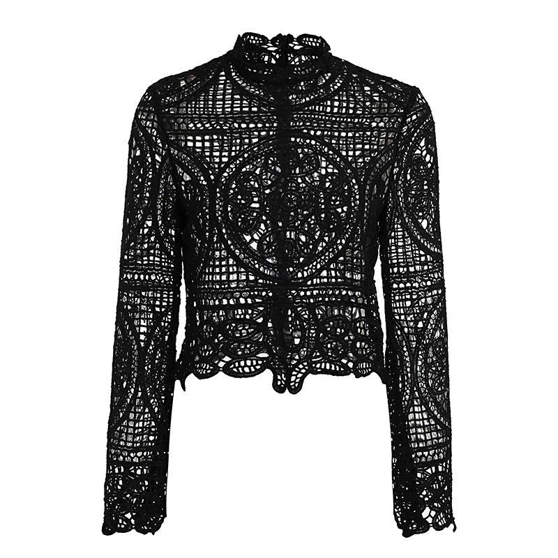 The Philomena Lace Blouse is a long sleeve, transparent/see-through lace blouse with an intricate bohemian design. Available in white or black color options, and sizes S, M, & L.