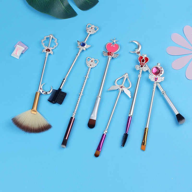 Sailor Moon Magic Scepters 8 Pcs Makeup Brush Set in Silver | Otaku Beauty Tools | Bijou Blossoms