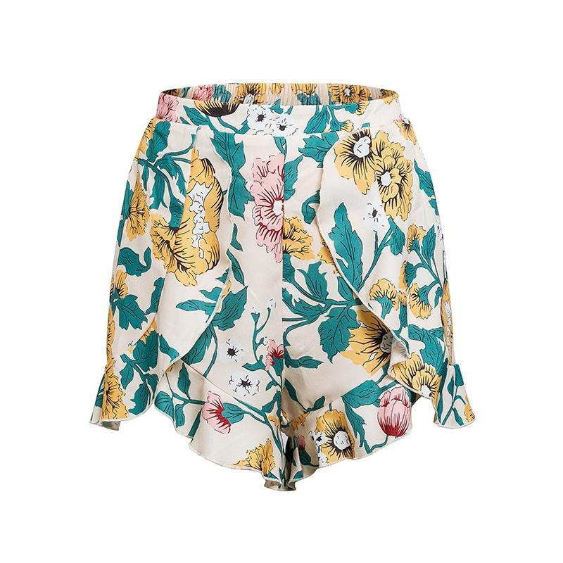 Shona Floral Print Asymmetrical Summer Shorts | Bohemian Fashion Clothing | Bijou Blossoms