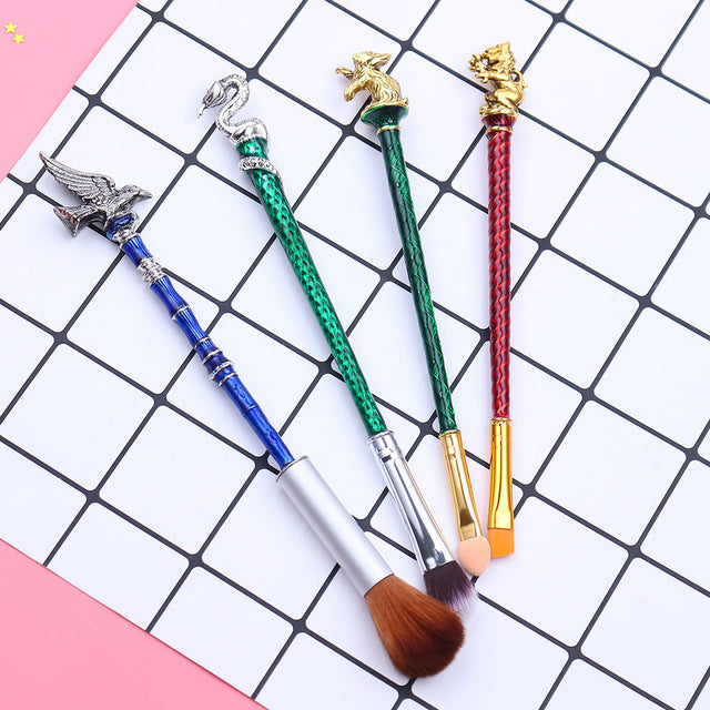 15693477c86 Harry Potter Colorful Hogwarts Emblems 4-Piece Makeup Brush Set