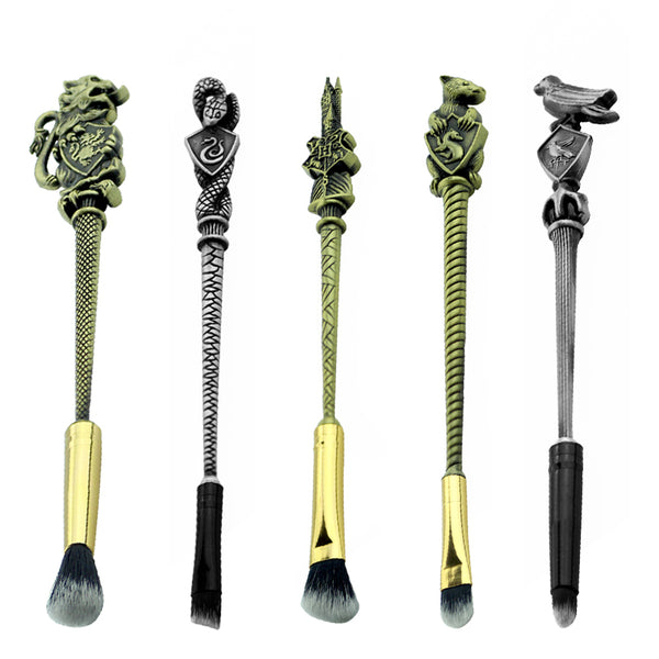 Harry Potter Bronze Hogwarts' Emblems Five-Piece Makeup Brush Set | Kawaii Beauty Tools | Bijou Blossoms