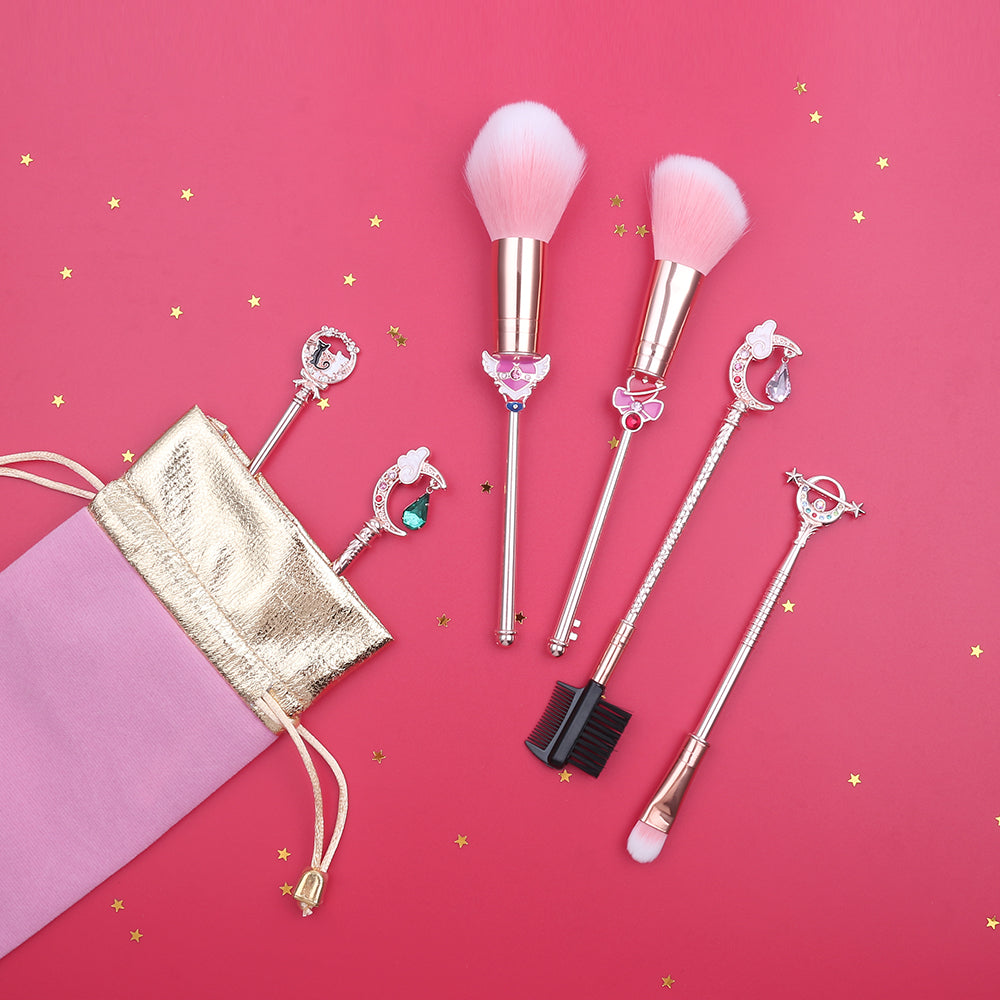 Sailor Moon Silver Crystal 6-Piece Makeup Brush Set | Kawaii Beauty Tools | Bijou Blossoms