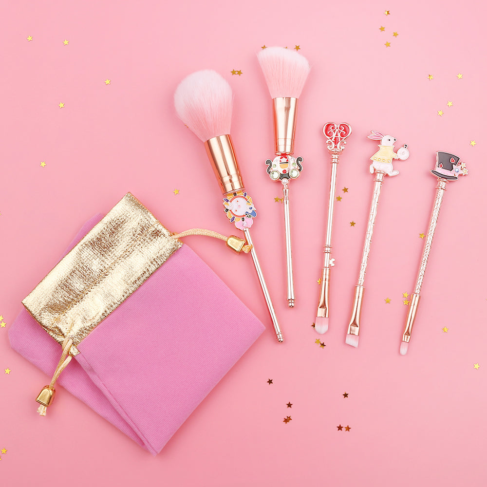 Alice in Wonderland 5-Piece Makeup Brush Set | Kawaii Beauty Tools | Bijou Blossoms