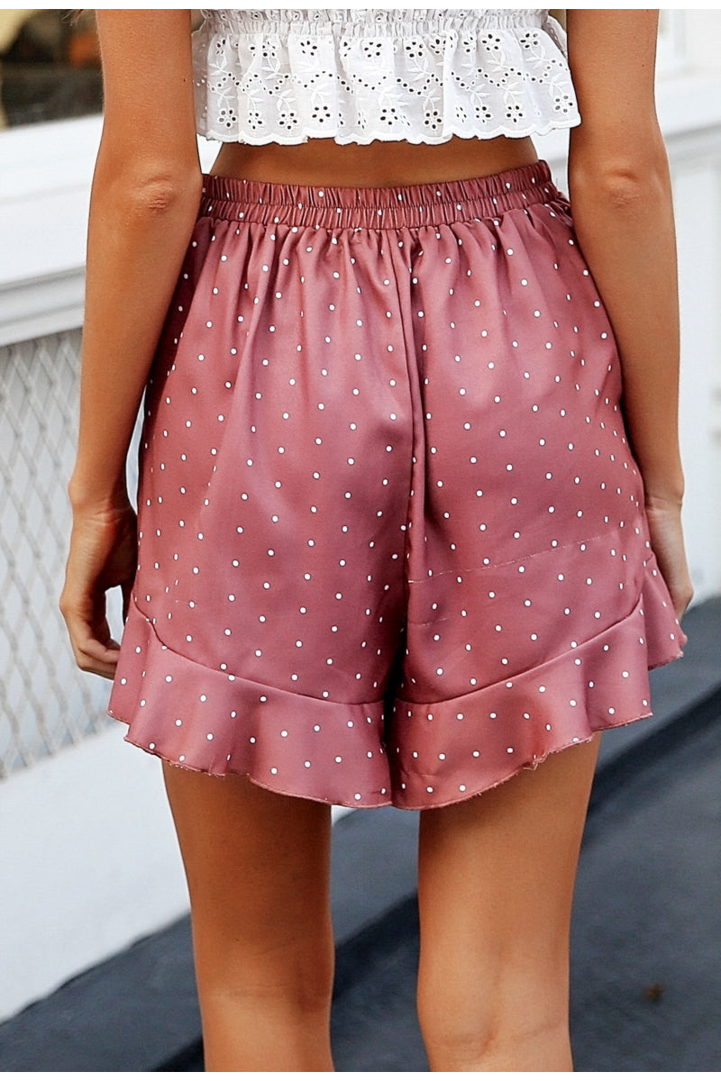 Shona Pink Asymmetrical Shorts with White Dots | Bohemian Fashion Clothing | Bijou Blossoms