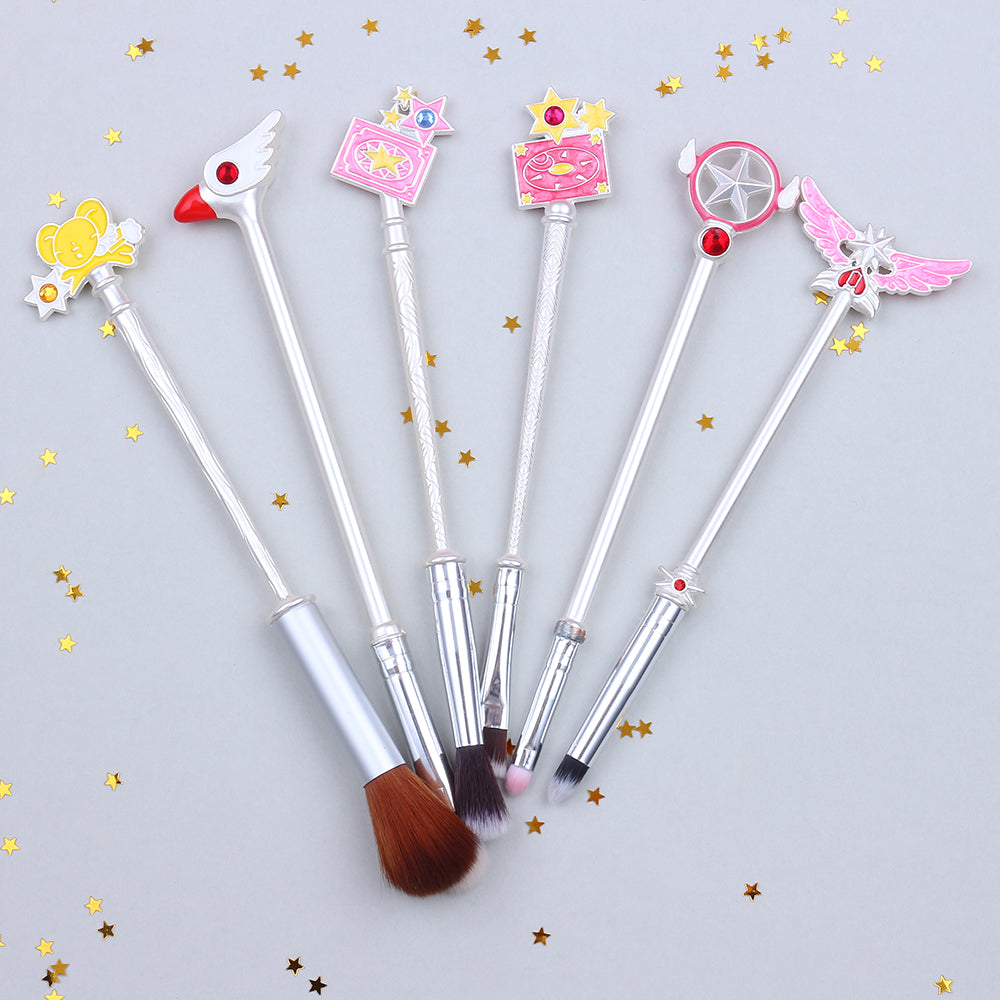 Cardcaptor Sakura Clear Card 6-Piece Makeup Brush Set in Silver | Kawaii Beauty Tools | Bijou Blossoms